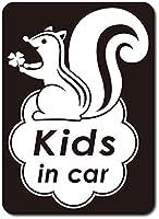 imoninn KIDS in car ステッカー 【マグネットタイプ】 No.36 リスさん (黒色)