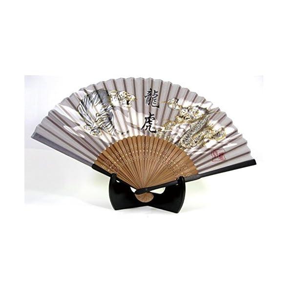 シルク扇子 龍虎 ゴールド 504-900の商品画像