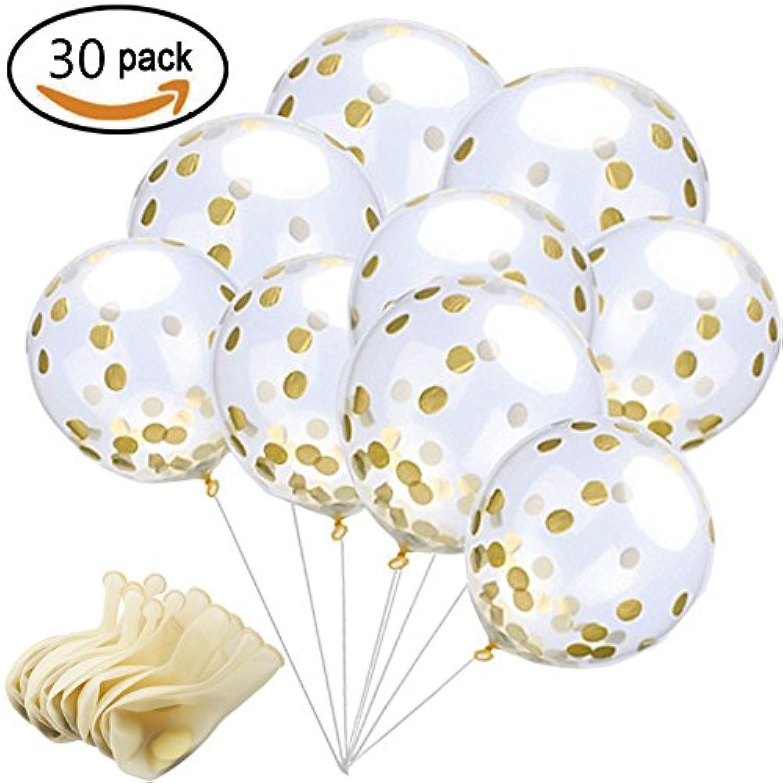 風船 透明バルーン ゴム コンフェッティ(紙吹雪)付 ゴム風船 パーティ (キラキラ) 誕生日 結婚式 飾り 装飾 空気入れ 30個セット