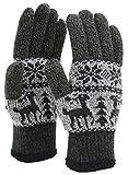 Marukawa JEANS POWER JEANS VALUE(マルカワジーンズパワージーンズバリュー) 手袋 スマートフォン対応 ニット 雪柄 メンズ (Free, ブラック2)