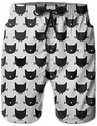 猫 ブラック メンズ サーフパンツ 水陸両用 水着 海パン ビーチパンツ 短パン ショーツ ショートパンツ 大きいサイズ ハワイ風 アロハ 大人気 おしゃれ 通気 速乾