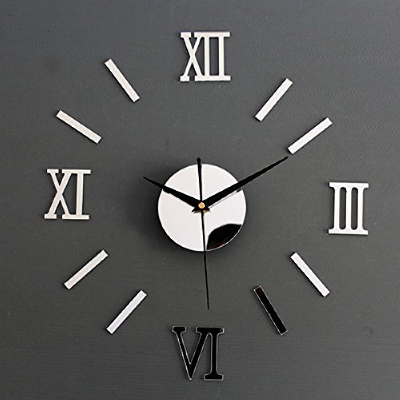 壁掛け時計 ローマ数字 サイレント非時を刻む DIYできるインテリア壁時計 (シルバー)