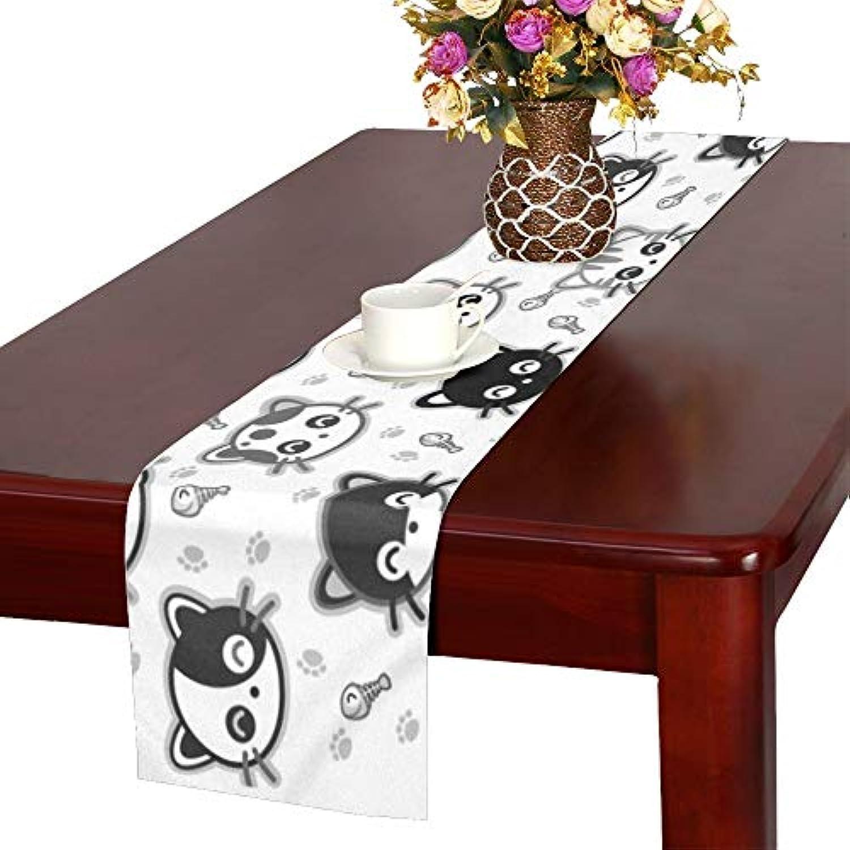 GGSXD テーブルランナー 面白い グレー猫 クロス 食卓カバー 麻綿製 欧米 おしゃれ 16 Inch X 72 Inch (40cm X 182cm) キッチン ダイニング ホーム デコレーション モダン リビング 洗える