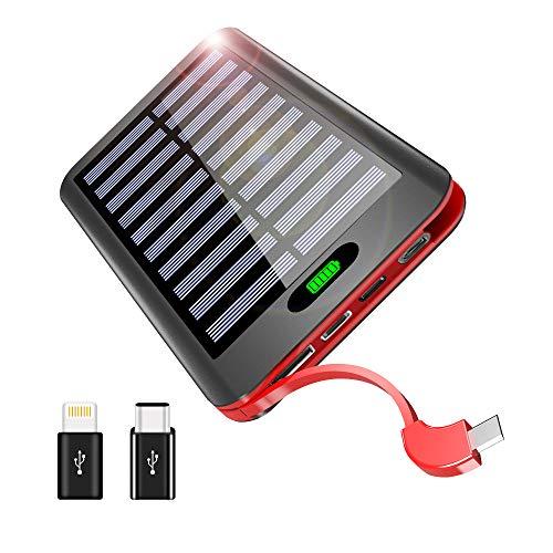 モバイルバッテリー ソーラーチャージャー 16000mAh ケーブル内蔵 LEDランプ搭載 QuickCharge 3入力USBポート 電源充電可能 太陽光で充電でき 超薄型 軽量 Android/iPhone/iPad/ゲーム機/カメラ等に対応 災害/旅行/アウトドアに大活躍(赤)