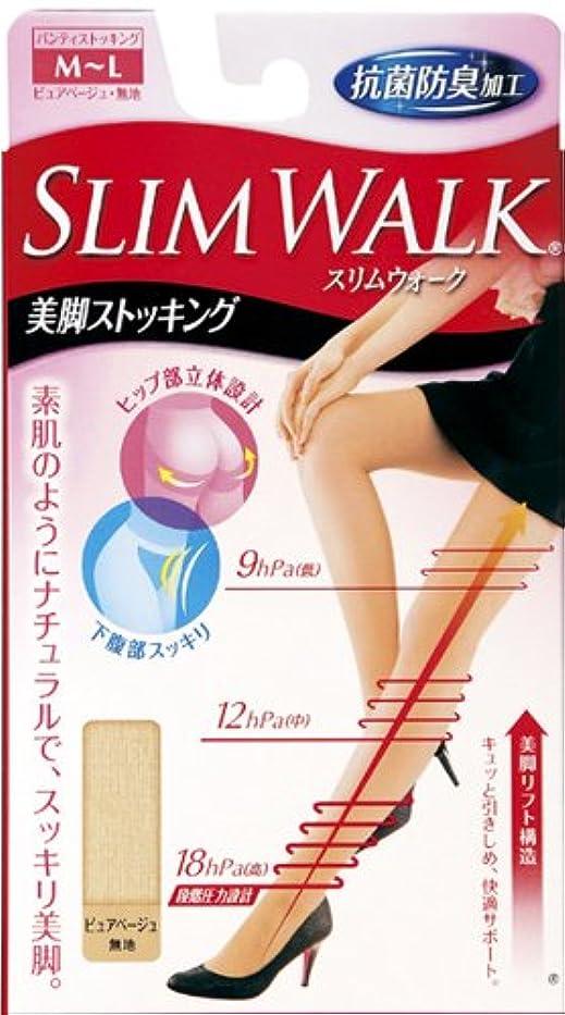 防ぐ簡潔な戸口スリムウォーク 美脚ストッキング M-Lサイズ ピュアベージュ(SLIM WALK,pantyhose,ML)