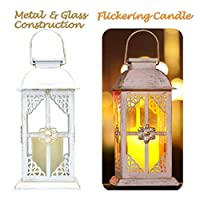 Solar Lantern Outdoor Hyacinth White Decor Antique Metal and Glass Construction Mission Solar Garden Lantern Indoor and Outdoor Solar Hanging Lantern Entirely Solar Powered Lantern of Low Maintenance [並行輸入品]