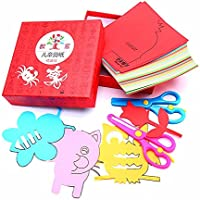 Minibaby 120 Pages Boys Girls Children Scissor Skills Activity Book with Pair of Child-Safe Scissors
