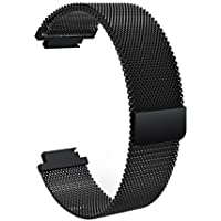 Magnetic Loop Clasp Watchband,BMEIG 20mm Stainless Steel Replacement SmartWatch Strap for Garmin vivoactive 3 -Black