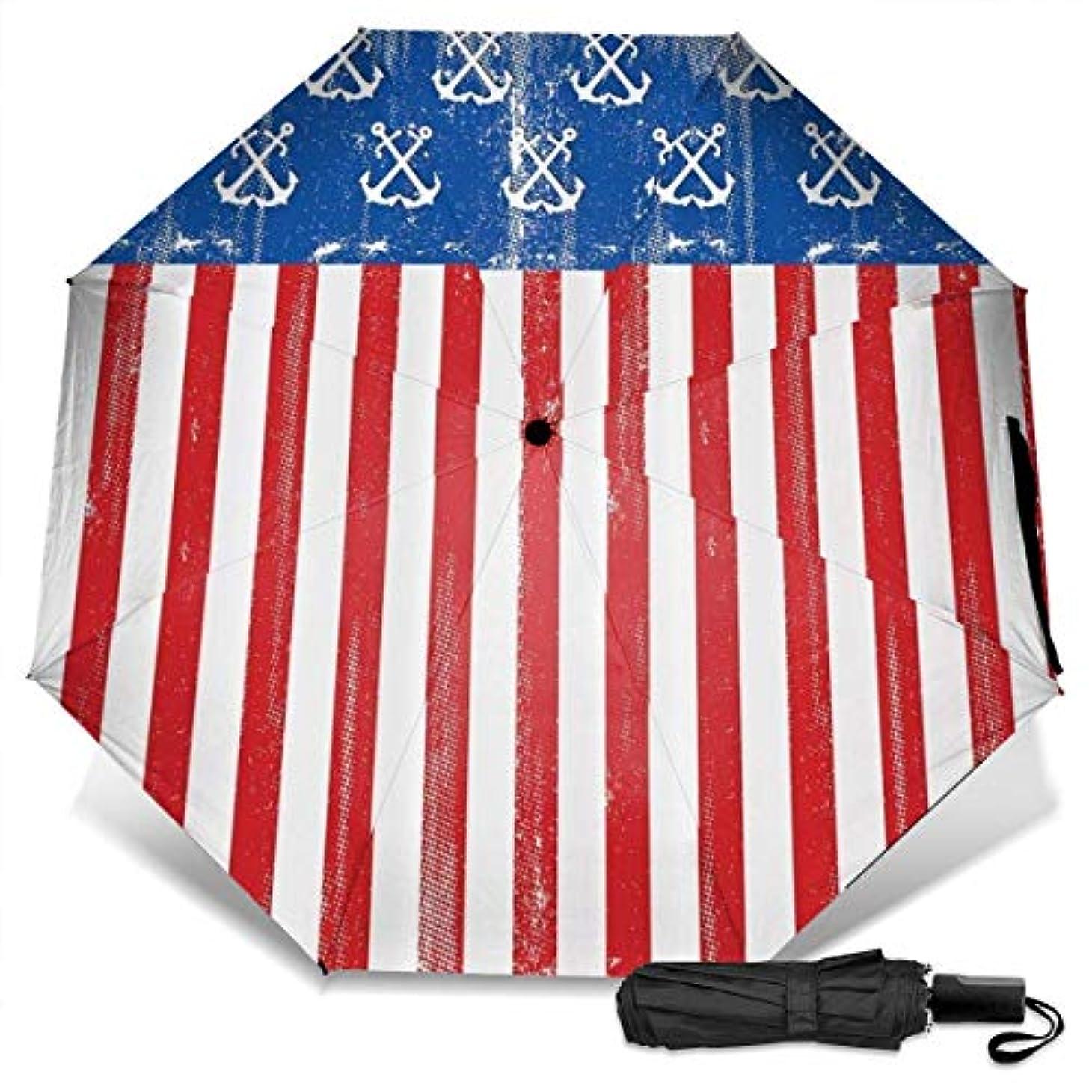 下品盆入学するアンカーとストライプヴィンテージとアメリカアメリカ国旗折りたたみ傘 軽量 手動三つ折り傘 日傘 耐風撥水 晴雨兼用 遮光遮熱 紫外線対策 携帯用かさ 出張旅行通勤 女性と男性用 (黒ゴム)