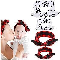 母娘バンダナスタイルHeadwrap & Bow Hair Ties – コットンスパンデックスStretches最良の快適&フィット – Baby & MomドレスUpスカーフヘッドバンドラップクラシック色 – 2 pk