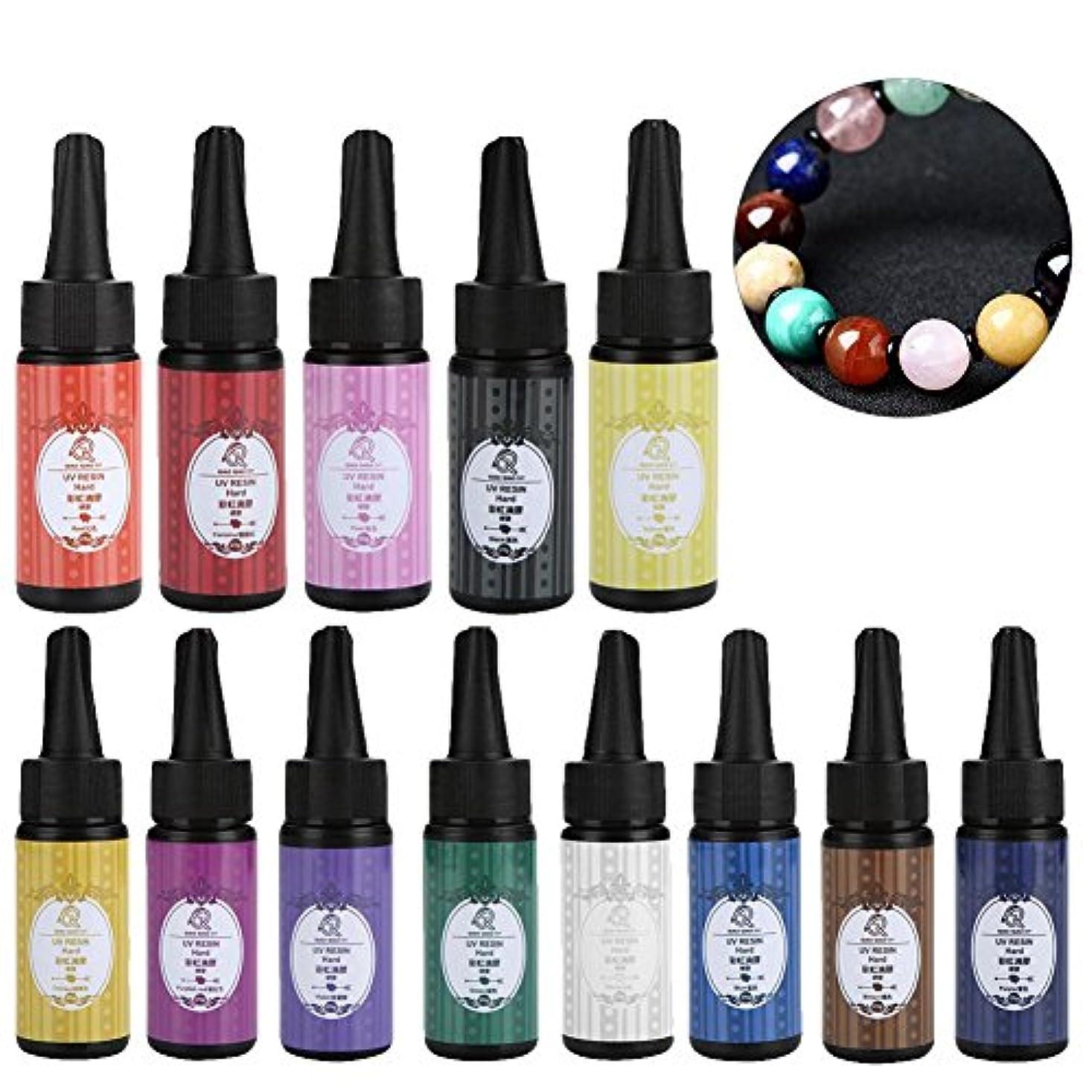 ピグメントUVジェル、シリコーン金型ジュエリー 樹脂 紫外線紫色 ネイルアートクリスタル 接着剤 13個 DIY(13)