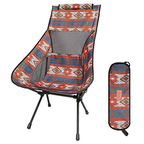 DesertFox アウトドアチェア 折りたたみ 超軽量【ハイバック】【耐荷重150kg】コンパクト イス 椅子 収納袋付属 お釣り 登山 携帯便利 キャンプ椅子008 (青/オレンジ/ハイバック-A)