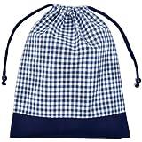 巾着・大 体操服袋 体操服入れ チェック大・紺 N3312600
