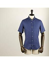 FINAMORE フィナモレ メンズ スモールカラー リネン ショートスリーブシャツ SILVANO シルヴァーノ GIGLIO 043949 03 (インディゴ)