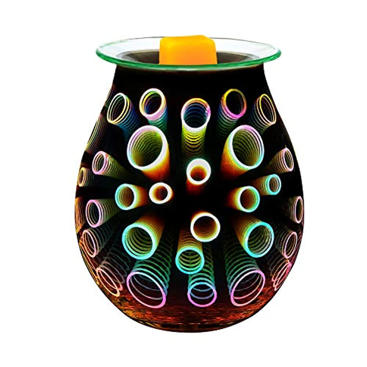 COOSA Electric Oil Warmer、美しいガラスワックスTart Burner夜ライトアロマ装飾ランプwith 3d効果のGifts & Decor EL0717_US