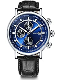 Time100 腕時計 メンズ 多機能 レーシングシリーズ ストップウォッチ 日付表示 夜光インデックス W80091G.01A (ブルー)