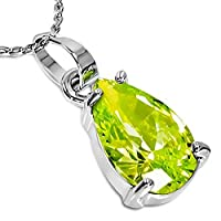 Fashion Alloy Silver-Tone Womens Solitaire Green Teardrop CZ Pendant Necklace