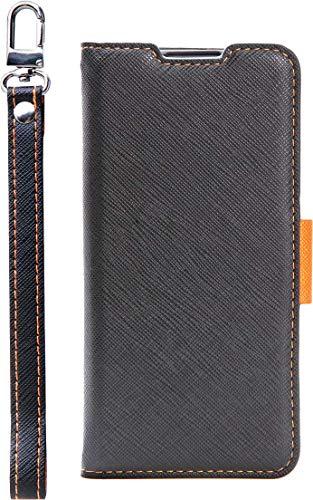 【Corallo】 Huawei P30 Lite Premium / P30 Lite ケース 手帳型 ストラップ 付き マグネット 式 ベルト スタンド 機能 薄型 スリム 手帳 レザー カバー カード 収納 付 NU [ P30Lite フアウェイ ファーウェイ P30 ライト プレミアム ] ブラック×オレンジ