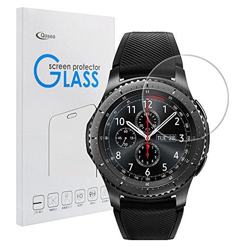 Samsung Gear S3 Frontier強化ガラスフィルム【Qosea】Samsung Gear S3 Frontier/Gear S3 Classic液晶保護フィルム 日本AGC旭硝子社 国産ガラス 硬度9H 指紋防止 飛散防止 超薄0.3mm 2.5D ラウンドエッジ加工 二枚入り(Samsung Gear S3 Frontier, 強化ガラスフィルム)