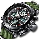 [メガリス]MEGALITH腕時計 メンズスポーツ軍事腕時計防水 クロノグラフ時計ブラック アナデジ多機能ウオッチ ルミナス夜光 ストップウオッチ 日付表示 アラーム おしゃれ ビジネス カジュアル 男性腕時計ナイロン