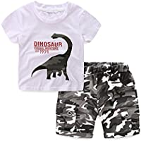 LittleSpring Little Boys Summer 2Pcs Sets Dinosaur T-shirt and Camo Short Set 2-6 Years