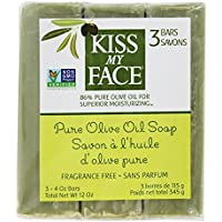 Kiss My Face - Pureのオリーブ油棒石鹸の価値パックの芳香は放す - 1バー [並行輸入品]