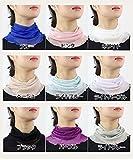 シルクネックカバー シルク100% ネックウォーマー首巻UVカット絹インナー 日焼け防止 フリーサイズ ブルー
