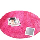 [XINXIKEJI]円形マット 玄関 マット 屋内 室内 カーペット ラグマット 泥落しマット 洗える  滑り止め ふわふわ 地味 可愛い 直径160cm ピンク