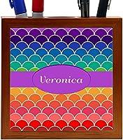 Rikki Knight Veronica Name on Rainbow Scallop Design 5-Inch Tile Wooden Tile Pen Holder (RK-PH45848) [並行輸入品]