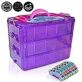 Holds 600–TinyおもちゃボックスShopkinsストレージケースオーガナイザーコンテナ–スタッカブルCollectors Carrying Tote互換W / Mini Toys colleggtibles Fash ' ems Tsum TsumホットWheels ( Purple Sparkle /ピンク)