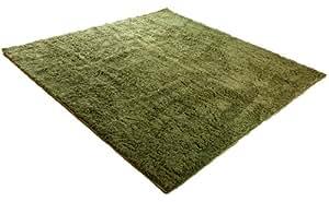 マイクロファイバーシャギーラグ 90×130cm モスグリーン 22474894