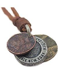 Steampunk Men's Vintage Style 3 Coins Leather Necklace - Unisex Women Rock & Punk Style Pendant