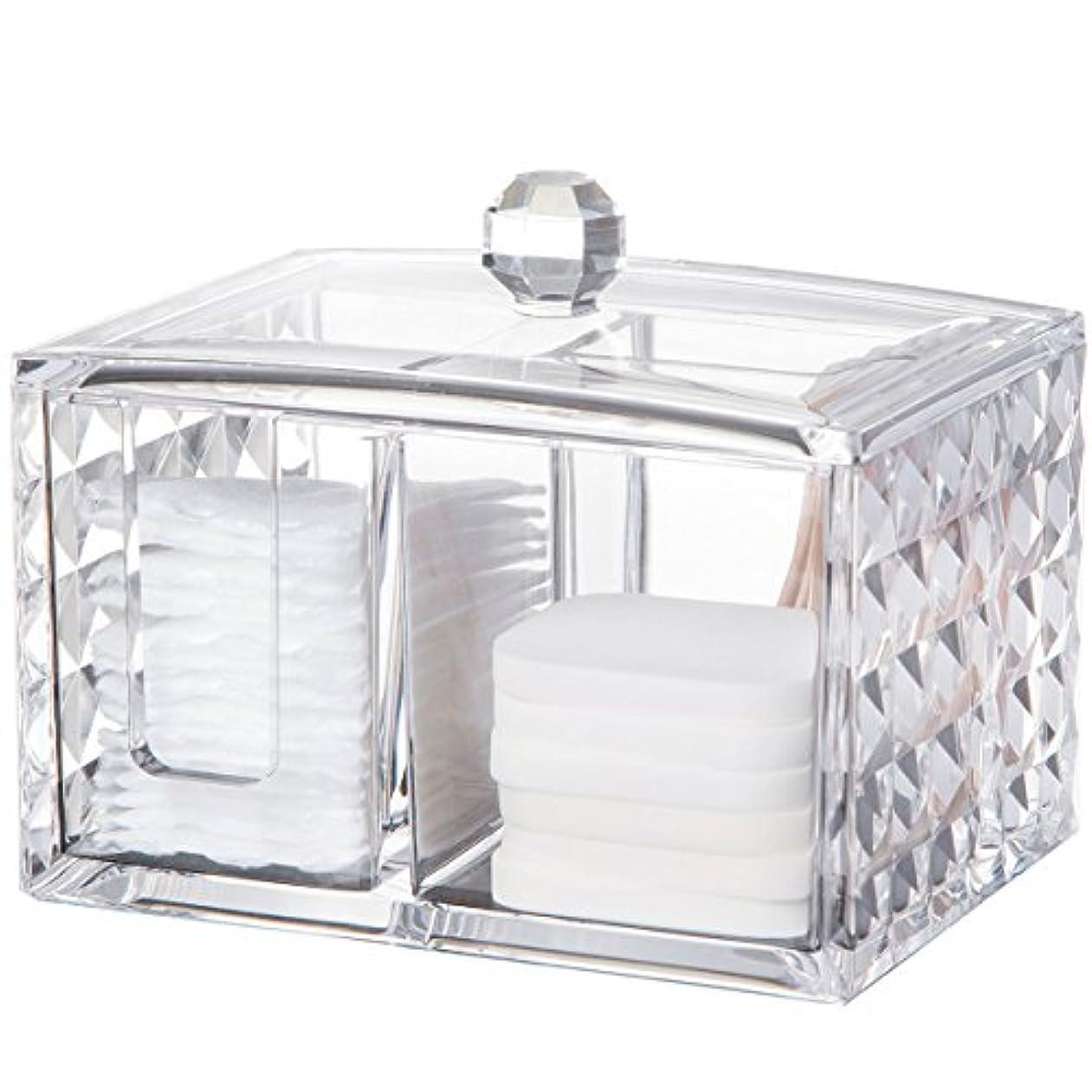 受賞判定支援するコスメボックス 綿棒収納ボックス アクリル製 ダイヤモンド模様 多功能 コスメ小物用品?化粧品収納ケース 透明 (正方形)