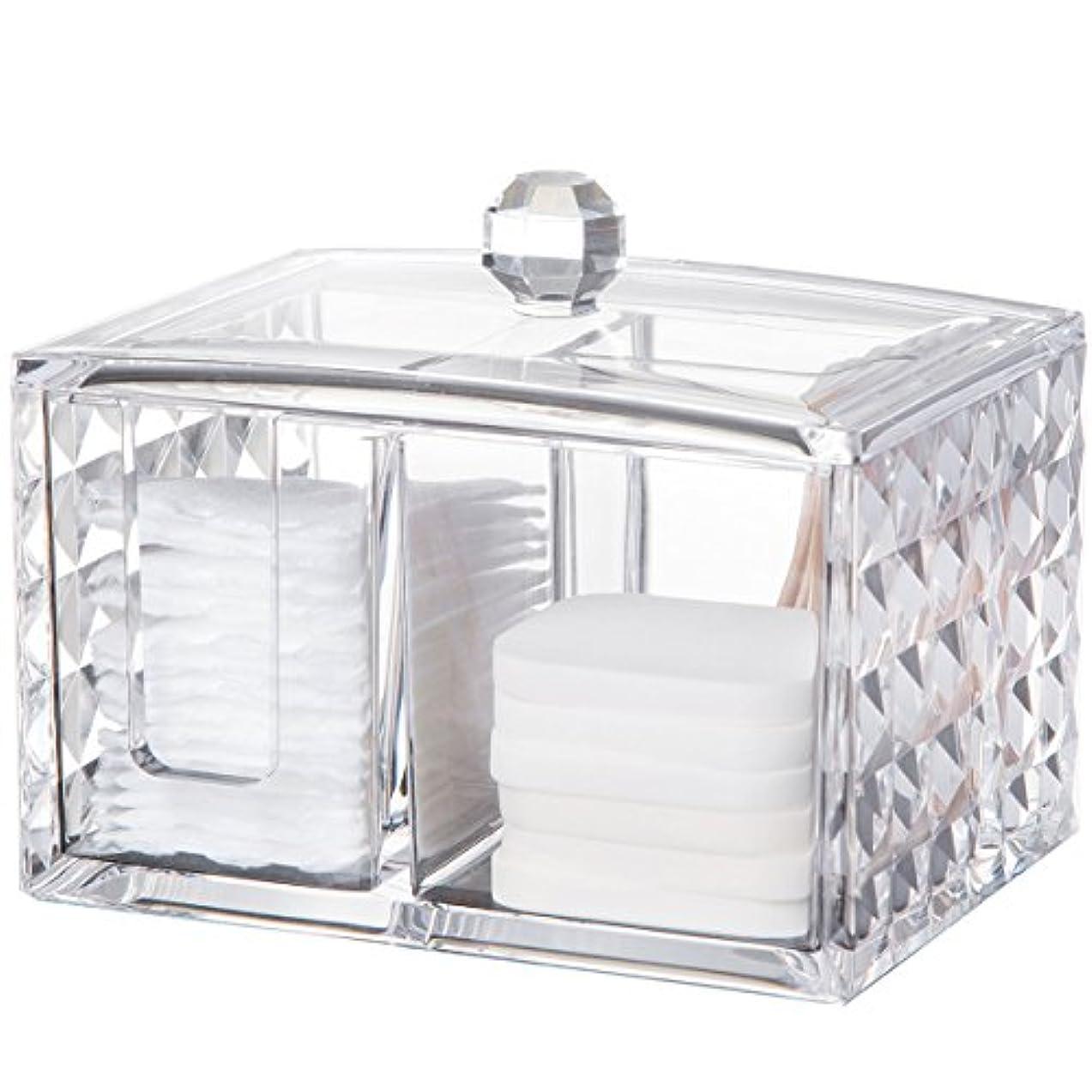 コスメボックス 綿棒収納ボックス アクリル製 ダイヤモンド模様 多功能 コスメ小物用品?化粧品収納ケース 透明 (正方形)