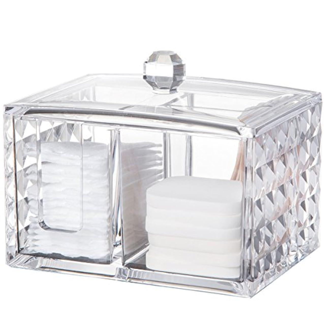 適用済み連続的ひもコスメボックス 綿棒収納ボックス アクリル製 ダイヤモンド模様 多功能 コスメ小物用品?化粧品収納ケース 透明 (正方形)