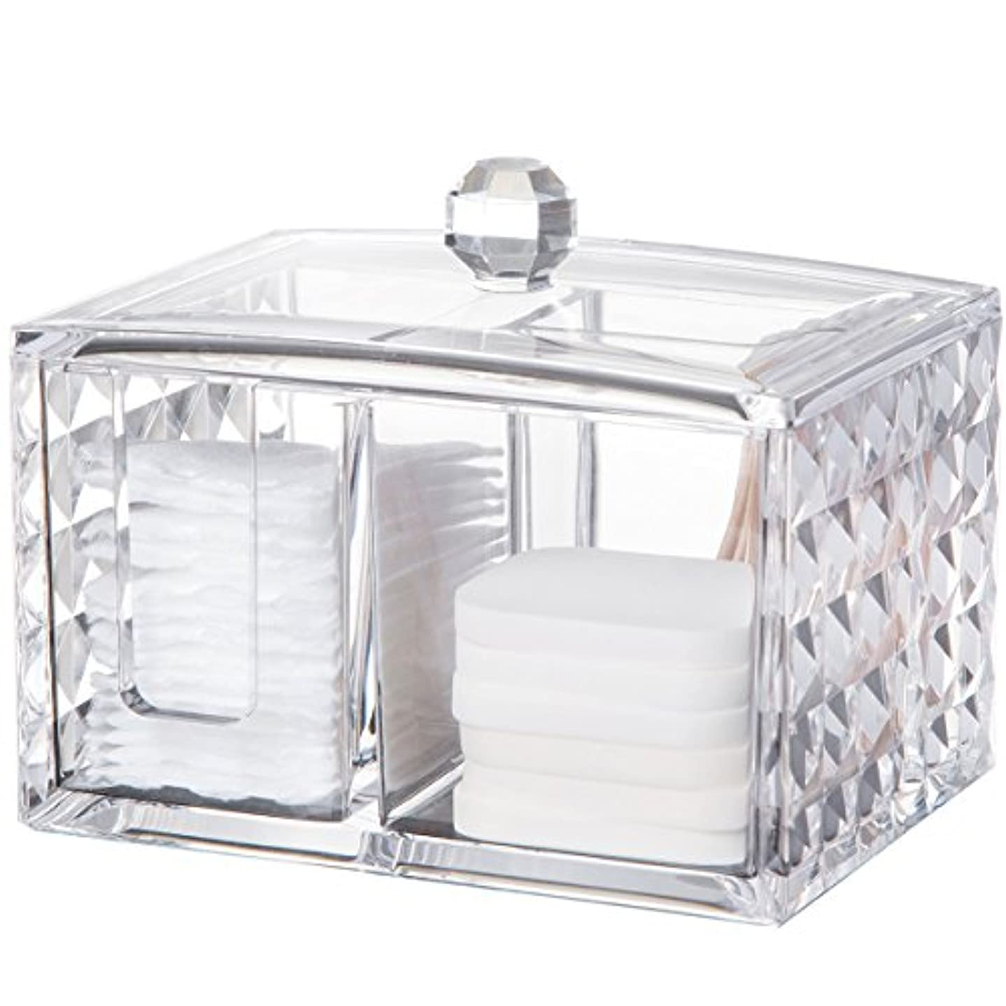 同一性本会議性的コスメボックス 綿棒収納ボックス アクリル製 ダイヤモンド模様 多功能 コスメ小物用品?化粧品収納ケース 透明 (正方形)
