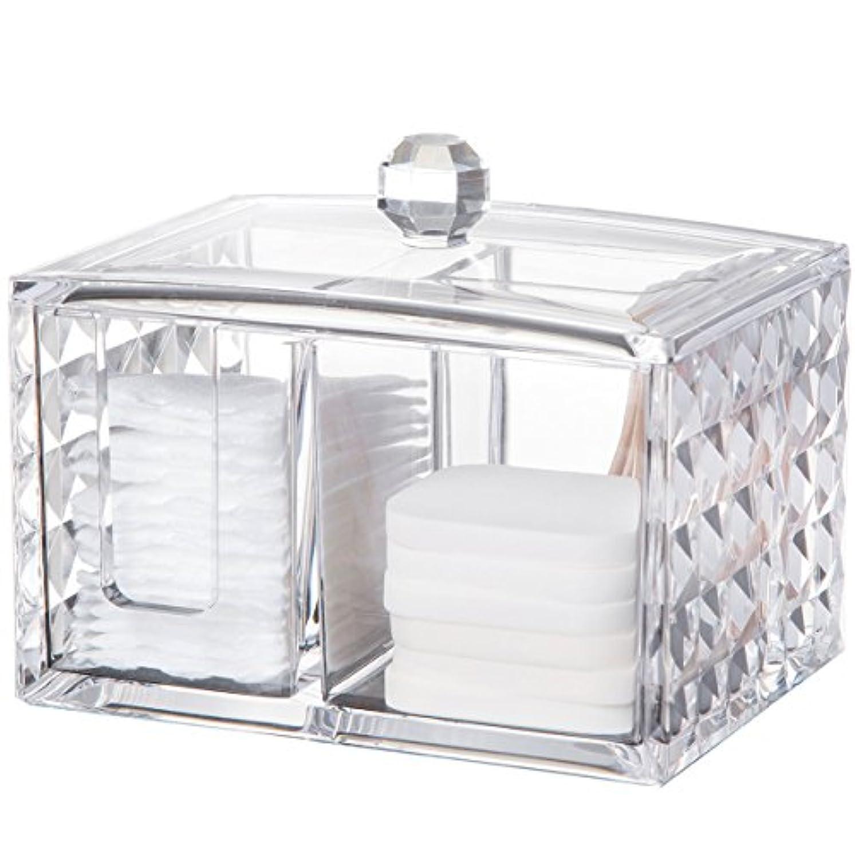詳細なロボットサルベージコスメボックス 綿棒収納ボックス アクリル製 ダイヤモンド模様 多功能 コスメ小物用品?化粧品収納ケース 透明 (正方形)