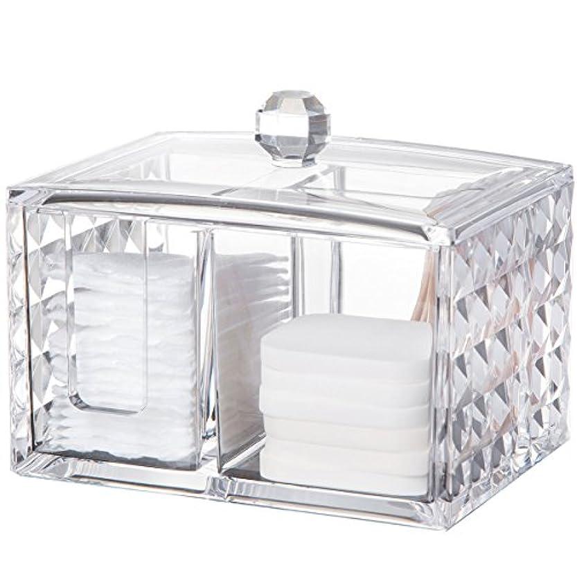 移行する適合種コスメボックス 綿棒収納ボックス アクリル製 ダイヤモンド模様 多功能 コスメ小物用品?化粧品収納ケース 透明 (正方形)
