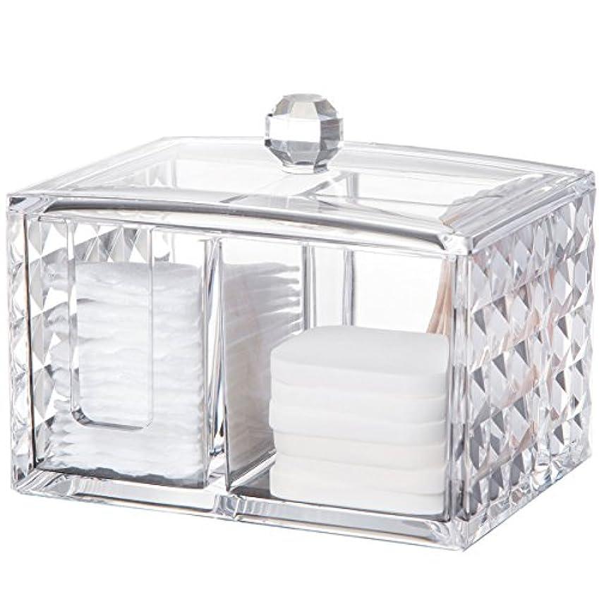 複雑な北極圏管理者コスメボックス 綿棒収納ボックス アクリル製 ダイヤモンド模様 多功能 コスメ小物用品?化粧品収納ケース 透明 (正方形)