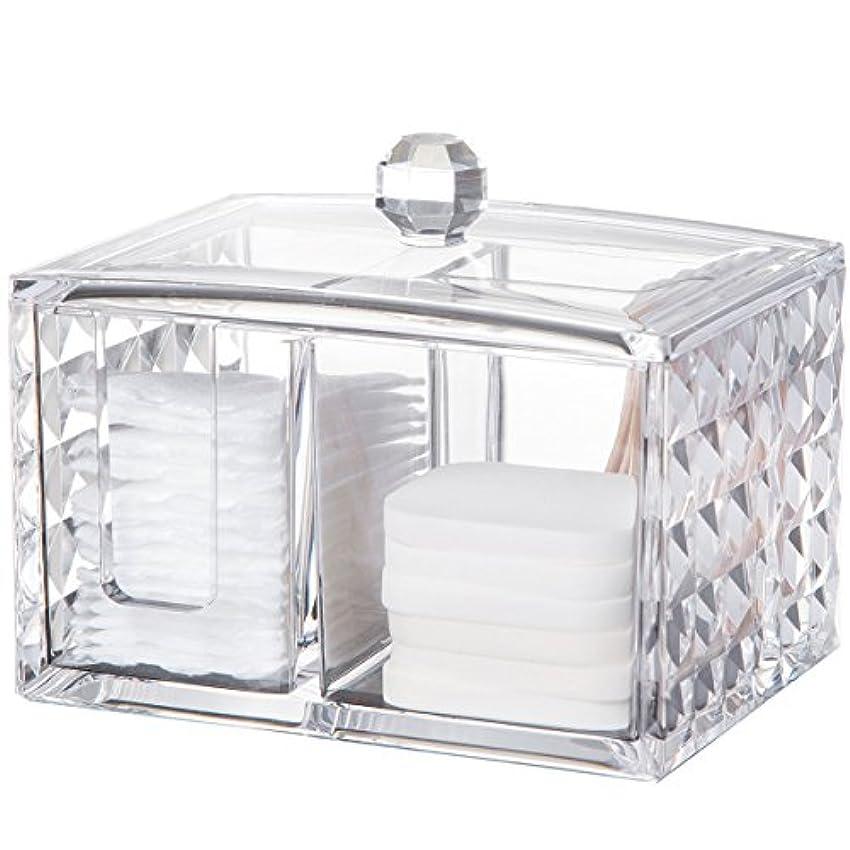 カストディアンコーヒーうんコスメボックス 綿棒収納ボックス アクリル製 ダイヤモンド模様 多功能 コスメ小物用品?化粧品収納ケース 透明 (正方形)