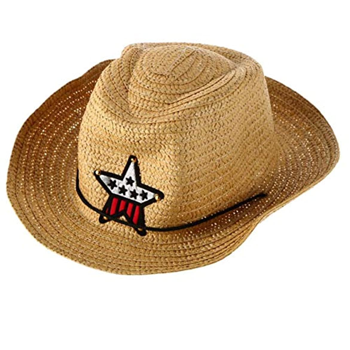 DeeploveUU スタイリッシュな子供子供西部のカウボーイわら日帽子防風キャップ夏ビッグワイドつばサンボネット付き星飾り