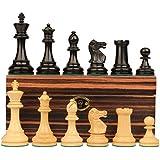 British Stauntonチェスセットin Ebonized Boxwood & Boxwood with Macassar Ebonyボックス – 3.5