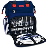 """Rolio Picnic Backpack for 4 Person, Insulated Cooler Compartment, 2 Bottle Holders, Complete Stainless Steel Cutlery Set, 9"""" Plastic Plates, Cutting Board, Waterproof Blanket"""