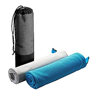 Litom 冷却タオル 冷感タオル 速乾タオル スポーツタオル スポーツタオル 2枚セット 熱中症対策 超吸水 軽量 運動/水泳/登山/旅行に最適 専用バッグ付
