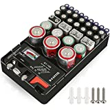 D-FantiX Battery Organizer with Tester Universal Battery Holder Storage for AA AAA C D 9V 1.5V Button Cell Batteries