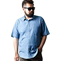 大きいサイズ 半袖シャツ カジュアルシャツ メンズ 半袖 綿100% デニム風 インディゴ ダンガリー カジュアル 春 夏