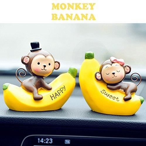 車のインテリア INEBIZJP 車 テーブル 飾り カーダッシュボード装飾 可愛猿バナナ ギフト 贈り物 バレンタインデー プレゼント かわいい(Monkey Banana) (M)