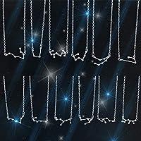 Calvanize - ゴールドシルバーカラースターゾディアックは女性ビジューファムのための12星座ペンダント星座占星術ネックレスチョーカーネックレス[スリヴァー山羊座]をサイン