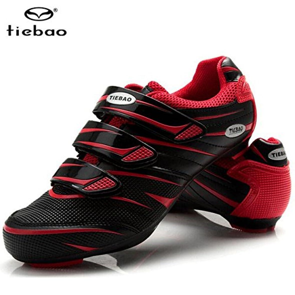 証明する多用途標高サイクリングシューズロードアスレチックバイク通気性自転車靴red black_7.5_26.0cm