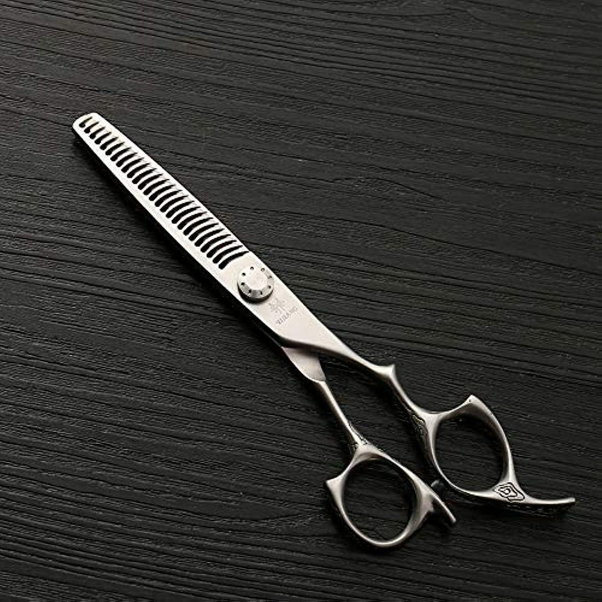 確かなミスロータリー理髪用はさみ 新しいスタイル6インチ美容院プロのヘアカット間伐歯はさみ、26歯アントラー歯理髪はさみヘアカット鋏ステンレス理髪はさみ (色 : Silver)